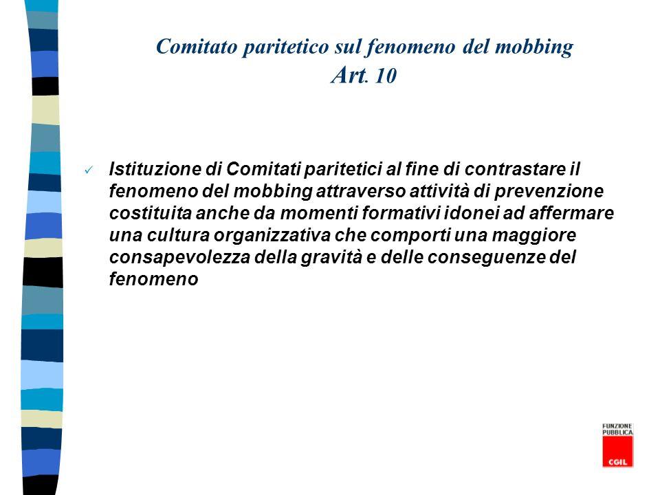 Comitato paritetico sul fenomeno del mobbing Art. 10