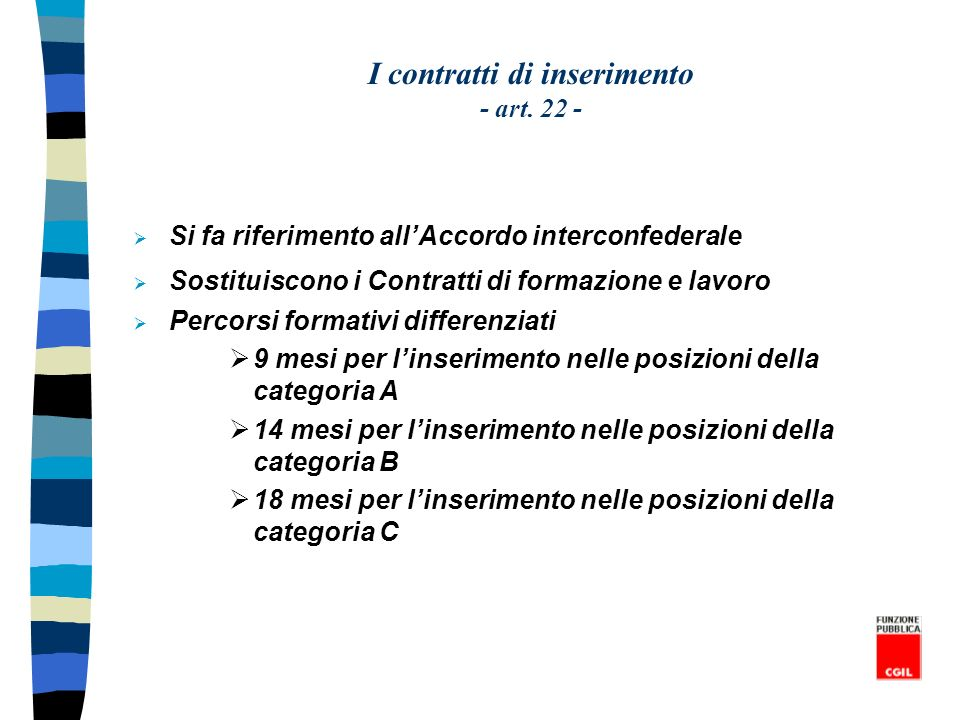I contratti di inserimento - art. 22 -