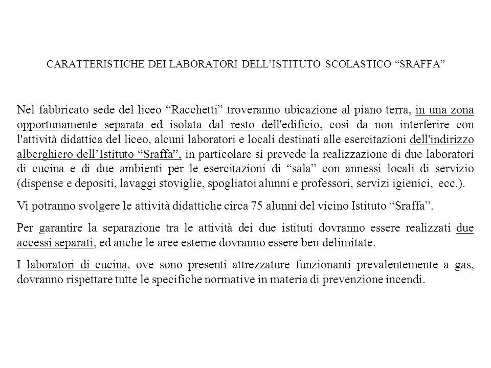 CARATTERISTICHE DEI LABORATORI DELL'ISTITUTO SCOLASTICO SRAFFA