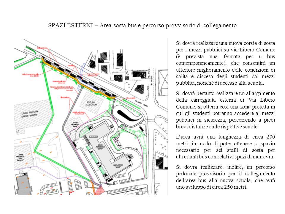 SPAZI ESTERNI – Area sosta bus e percorso provvisorio di collegamento