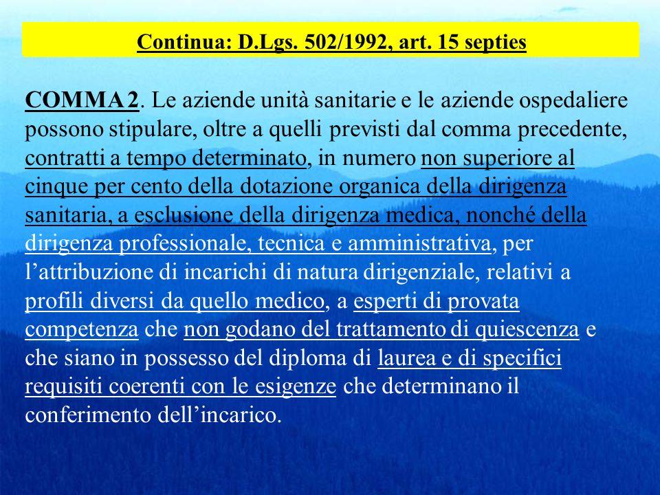 Continua: D.Lgs. 502/1992, art. 15 septies
