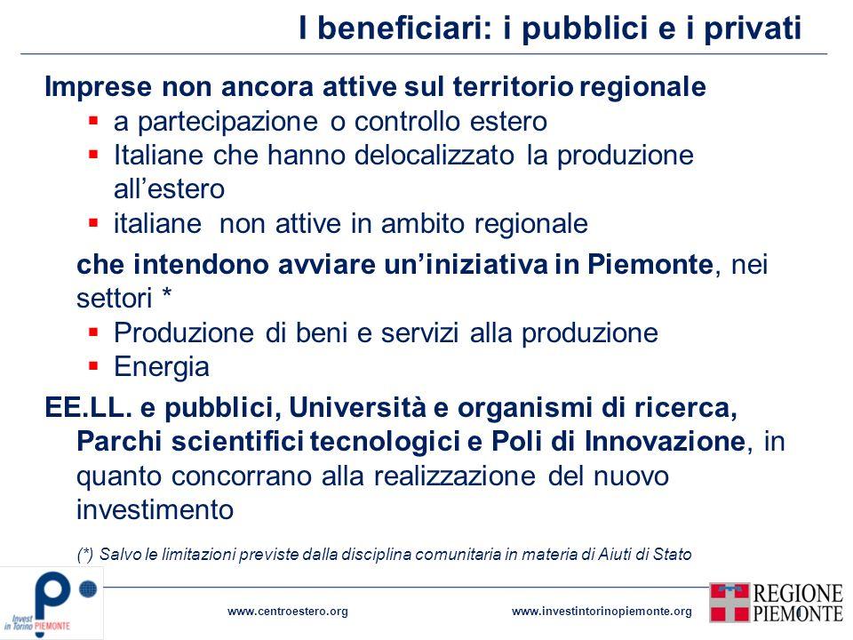 I beneficiari: i pubblici e i privati