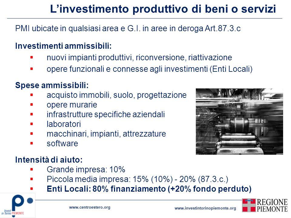 L'investimento produttivo di beni o servizi