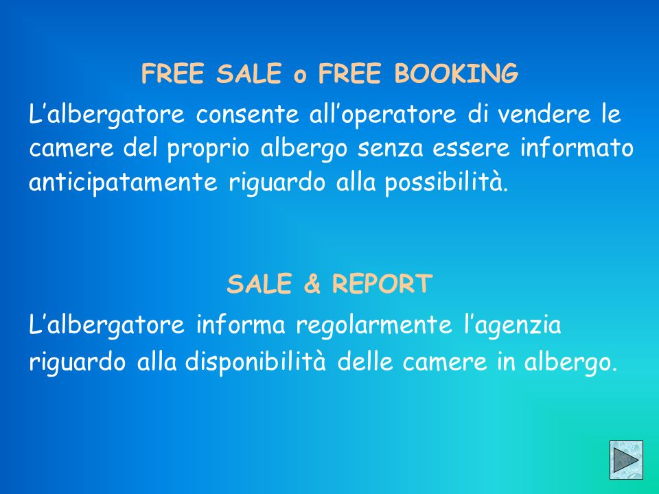 FREE SALE o FREE BOOKING