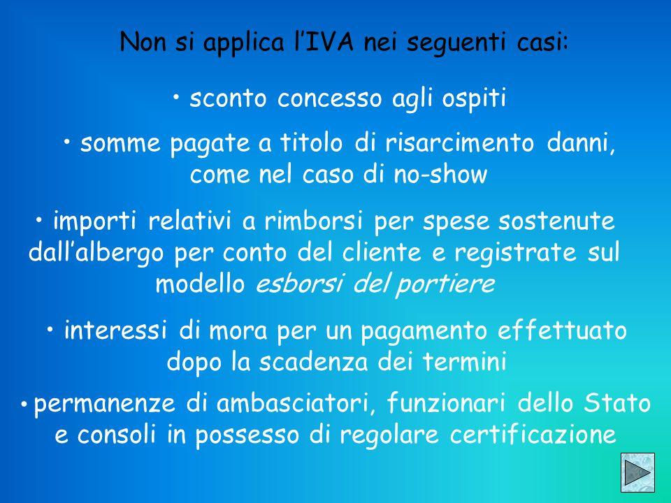 Non si applica l'IVA nei seguenti casi: