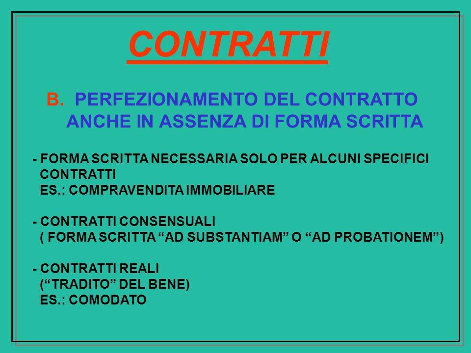 B. PERFEZIONAMENTO DEL CONTRATTO ANCHE IN ASSENZA DI FORMA SCRITTA