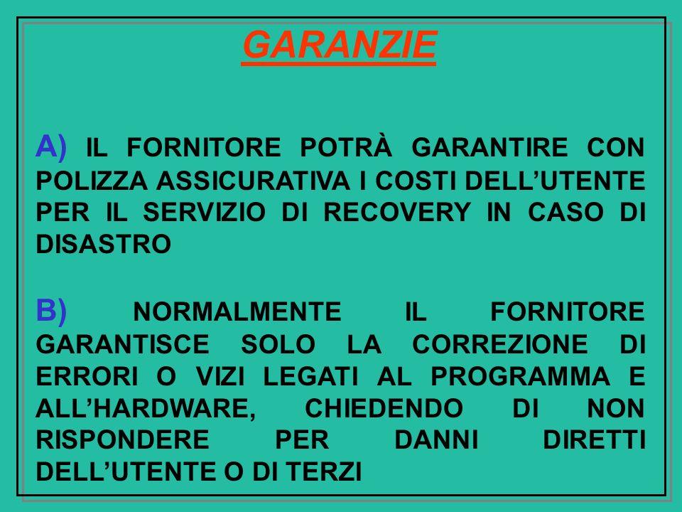 GARANZIE A) IL FORNITORE POTRÀ GARANTIRE CON POLIZZA ASSICURATIVA I COSTI DELL'UTENTE PER IL SERVIZIO DI RECOVERY IN CASO DI DISASTRO.