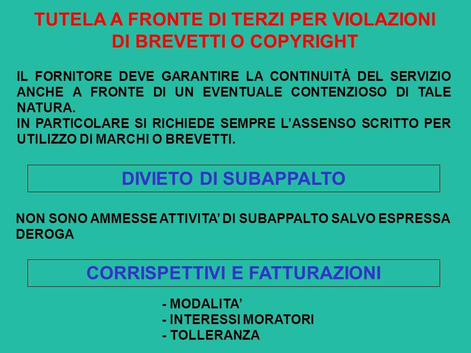 TUTELA A FRONTE DI TERZI PER VIOLAZIONI DI BREVETTI O COPYRIGHT