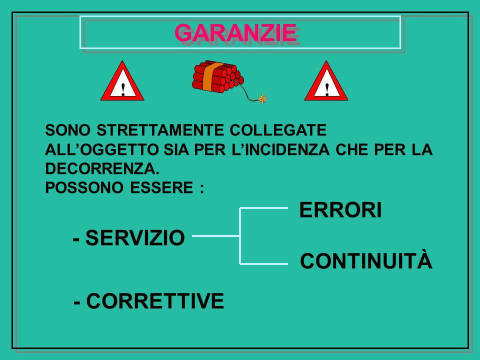 GARANZIE ERRORI - SERVIZIO CONTINUITÀ - CORRETTIVE ! !