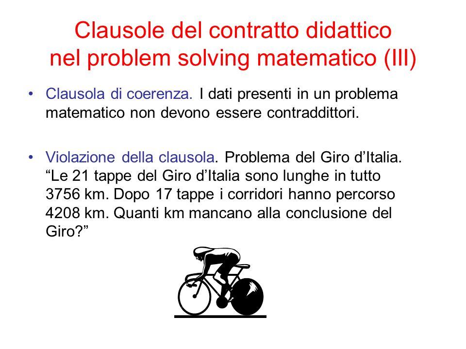 Clausole del contratto didattico nel problem solving matematico (III)