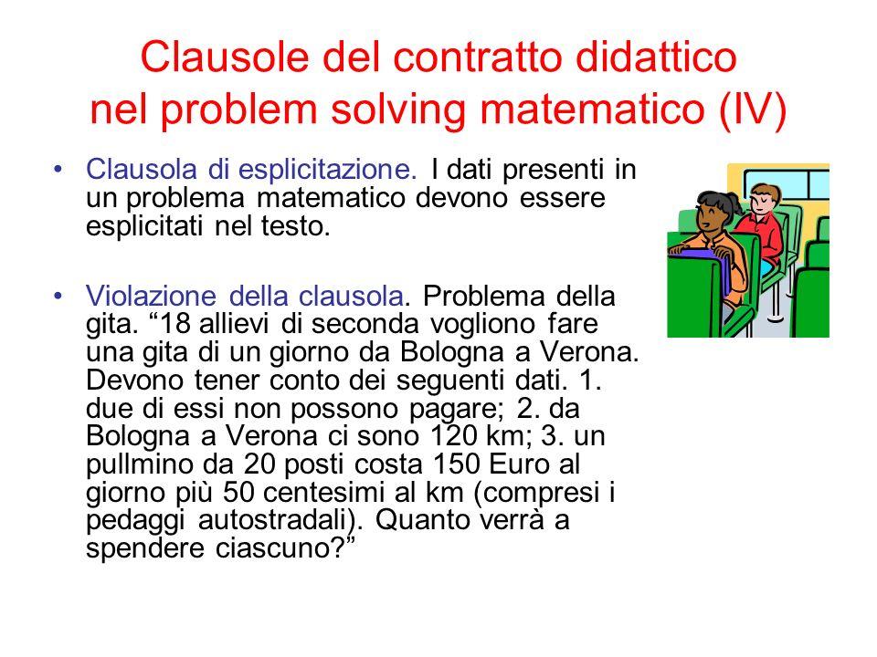 Clausole del contratto didattico nel problem solving matematico (IV)