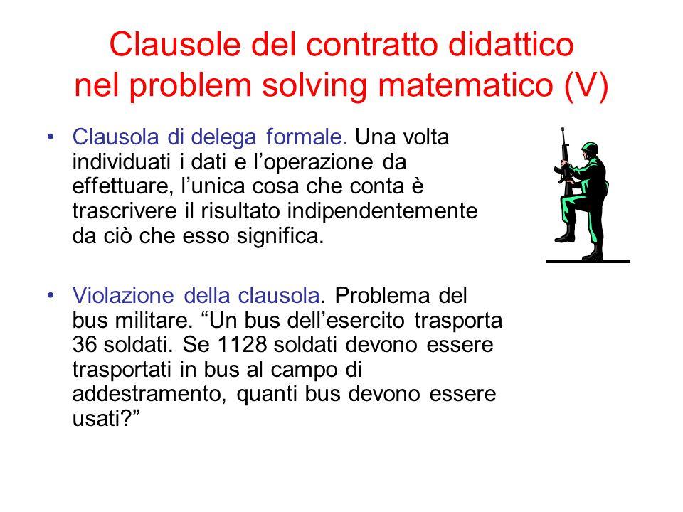 Clausole del contratto didattico nel problem solving matematico (V)