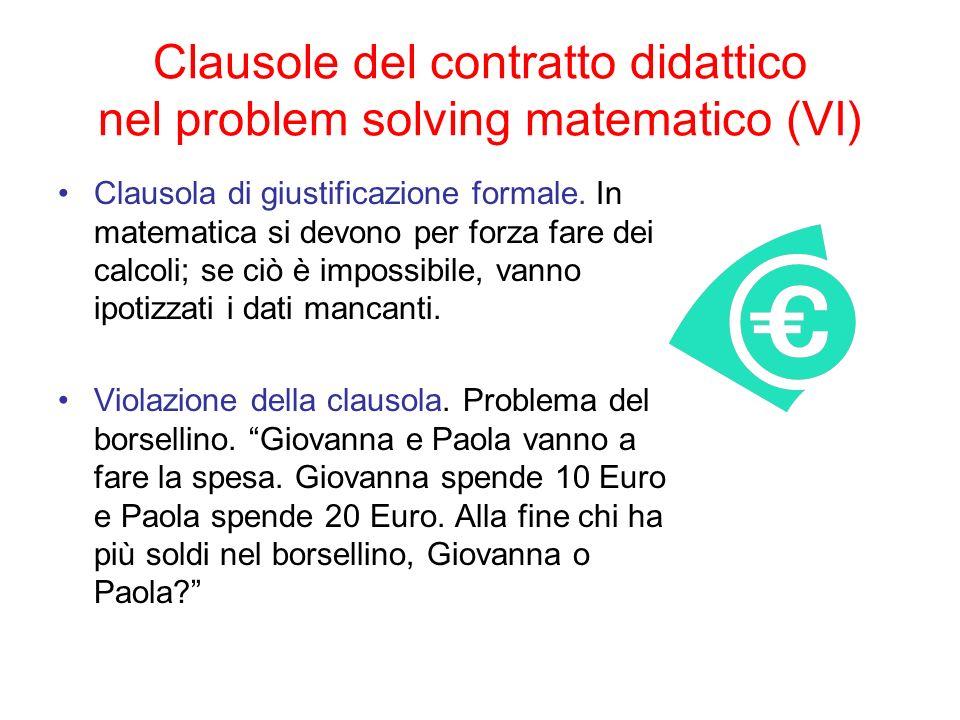 Clausole del contratto didattico nel problem solving matematico (VI)