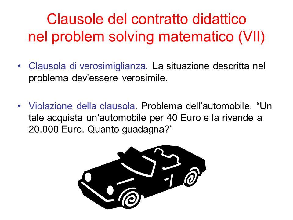 Clausole del contratto didattico nel problem solving matematico (VII)