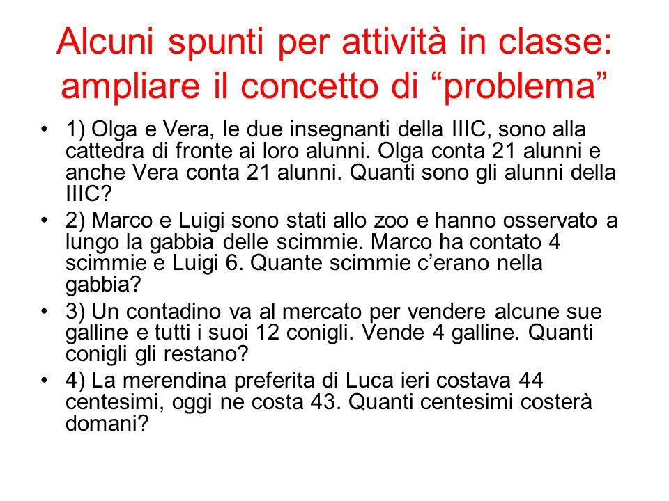 Alcuni spunti per attività in classe: ampliare il concetto di problema