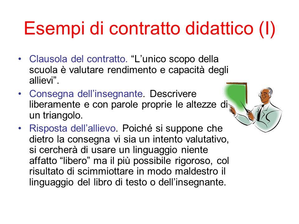 Esempi di contratto didattico (I)