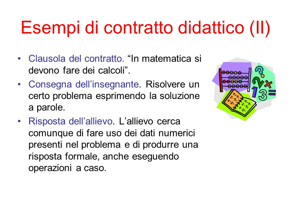 Esempi di contratto didattico (II)