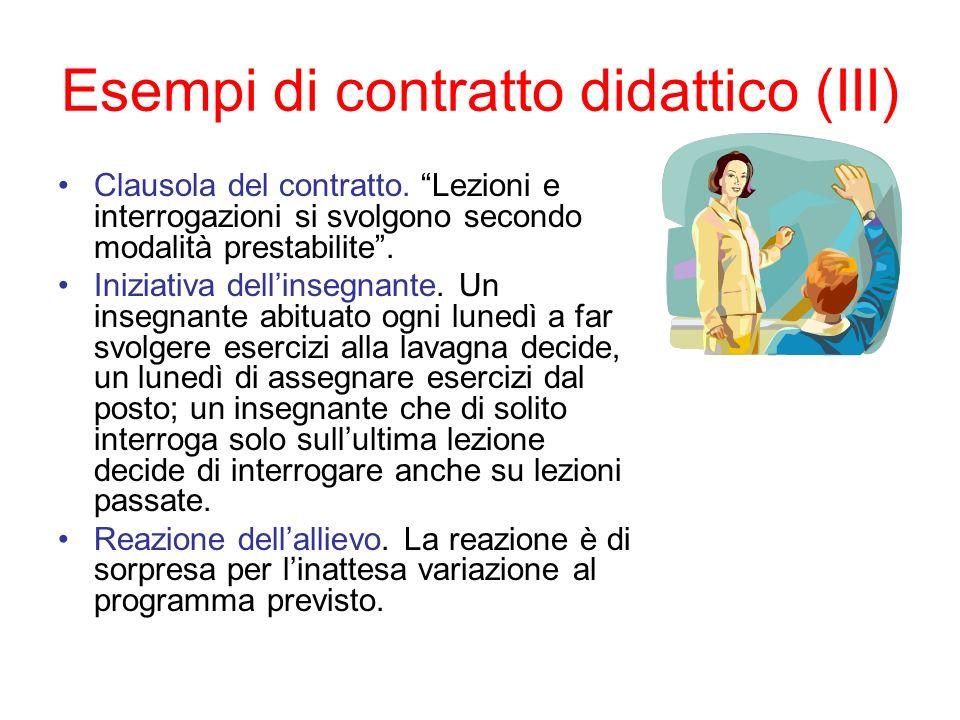 Esempi di contratto didattico (III)