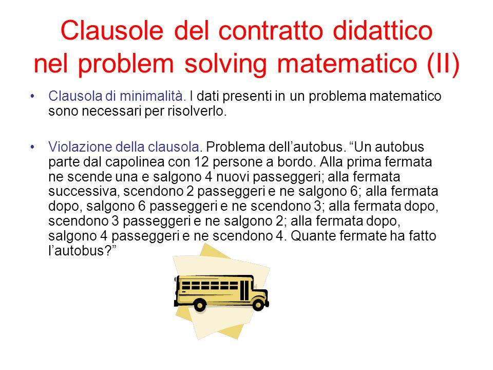 Clausole del contratto didattico nel problem solving matematico (II)
