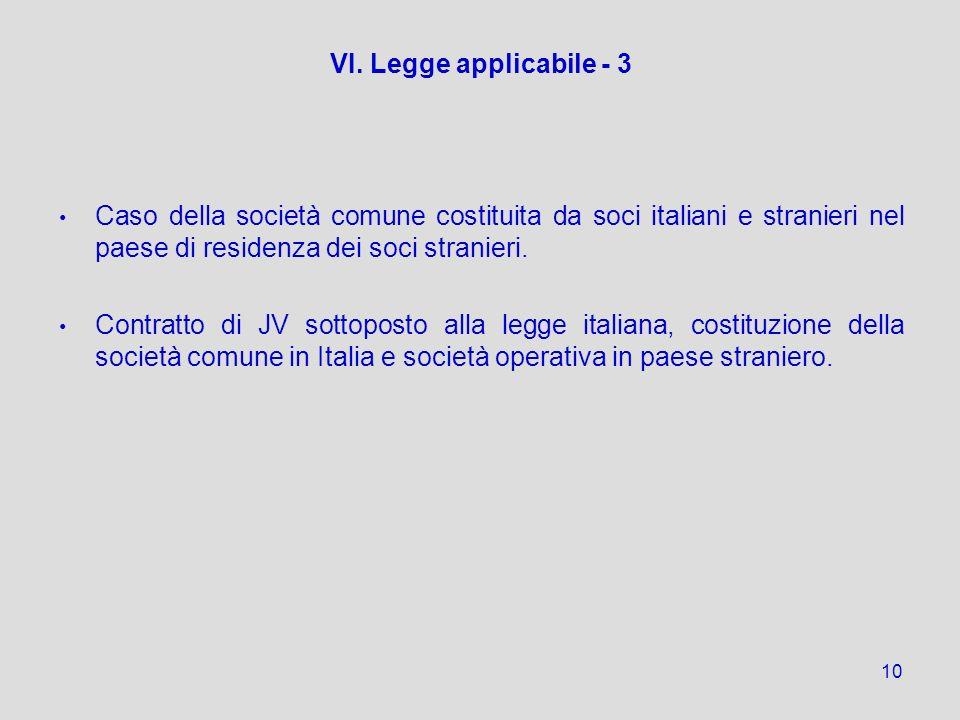 VI. Legge applicabile - 3 Caso della società comune costituita da soci italiani e stranieri nel paese di residenza dei soci stranieri.