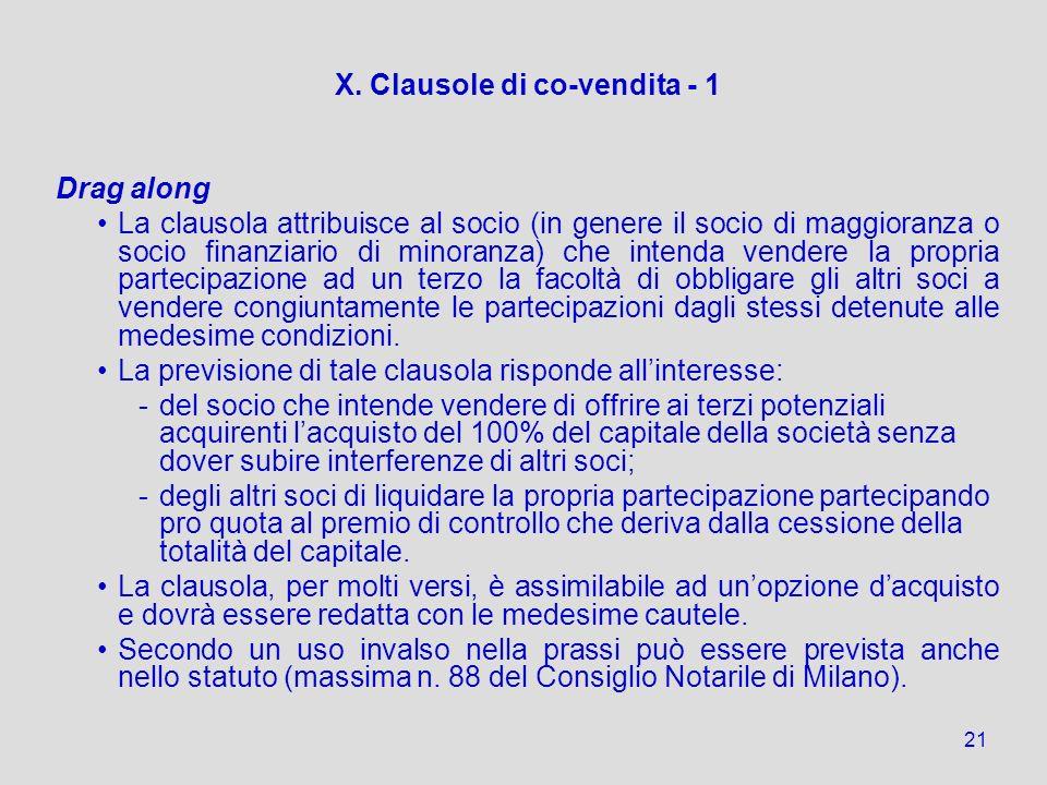 X. Clausole di co-vendita - 1