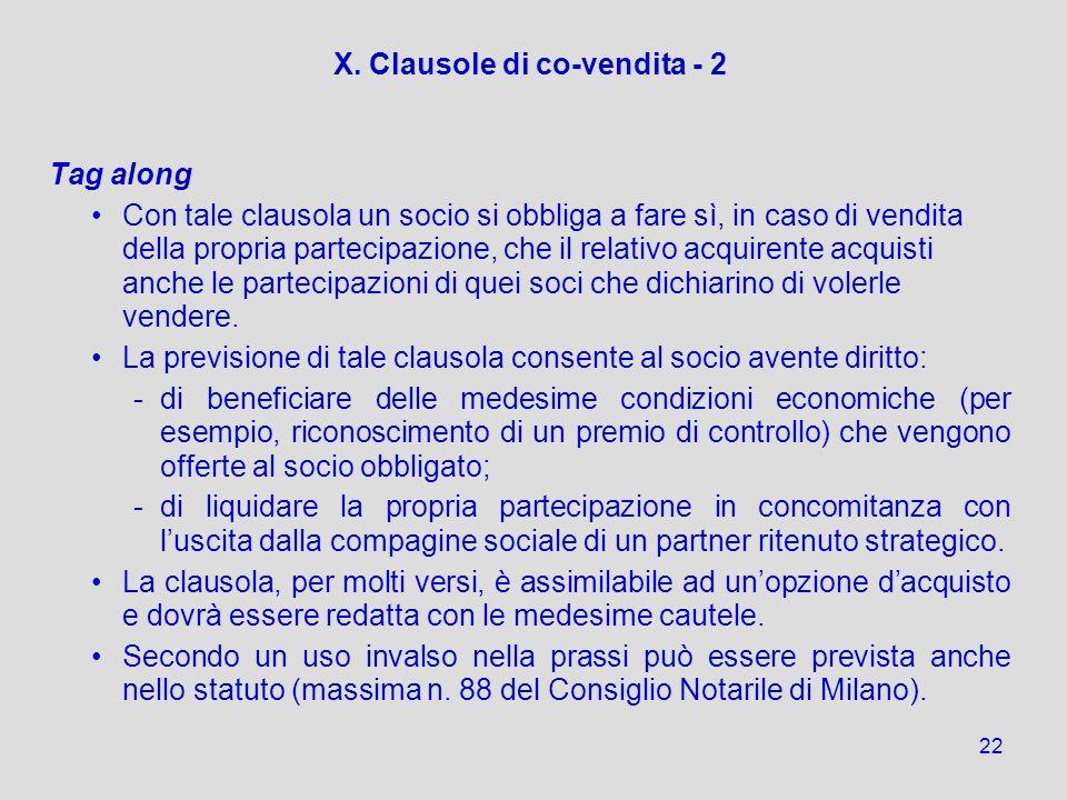 X. Clausole di co-vendita - 2