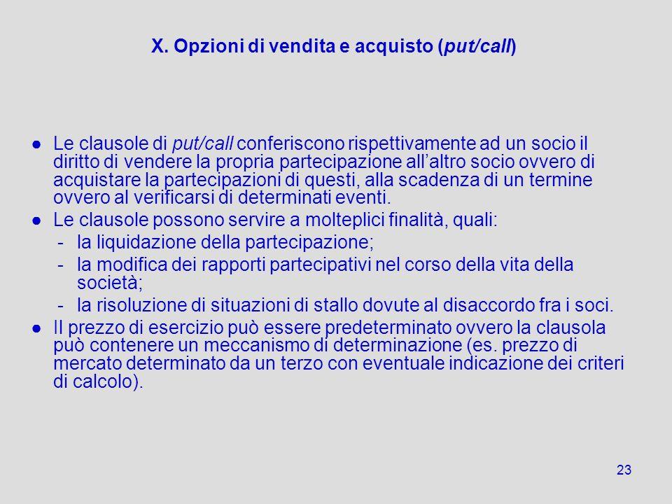 X. Opzioni di vendita e acquisto (put/call)
