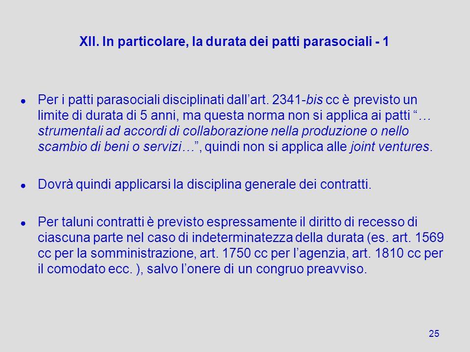 XII. In particolare, la durata dei patti parasociali - 1