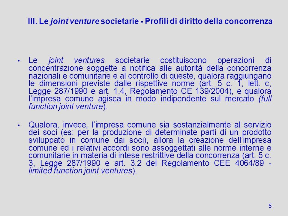 III. Le joint venture societarie - Profili di diritto della concorrenza