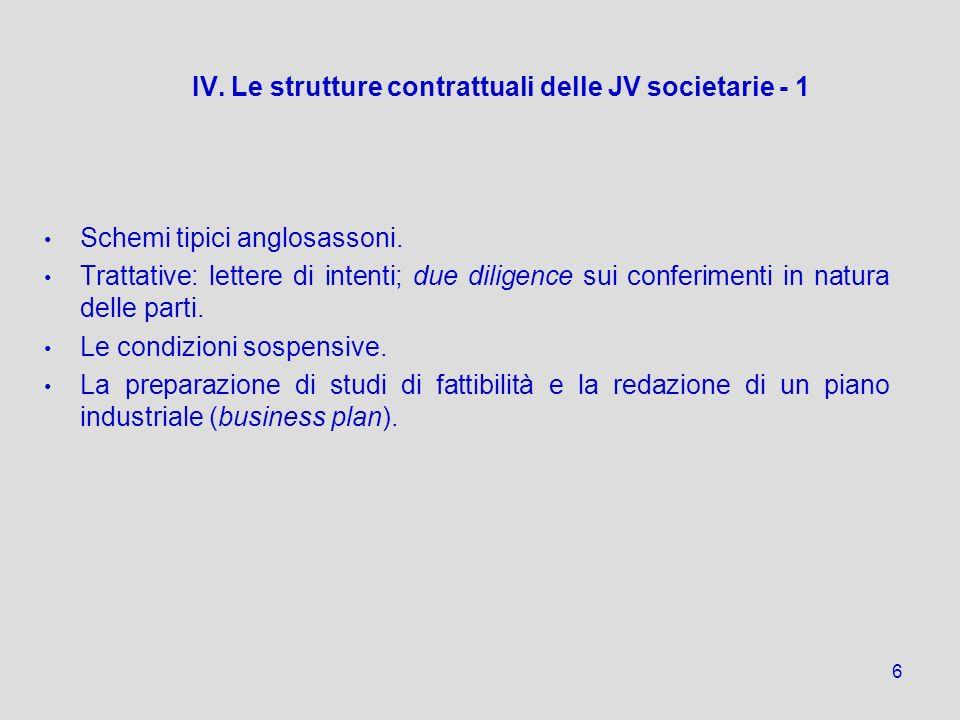 IV. Le strutture contrattuali delle JV societarie - 1