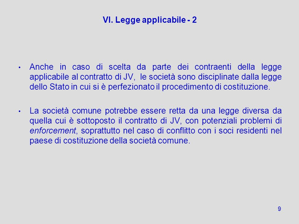 VI. Legge applicabile - 2