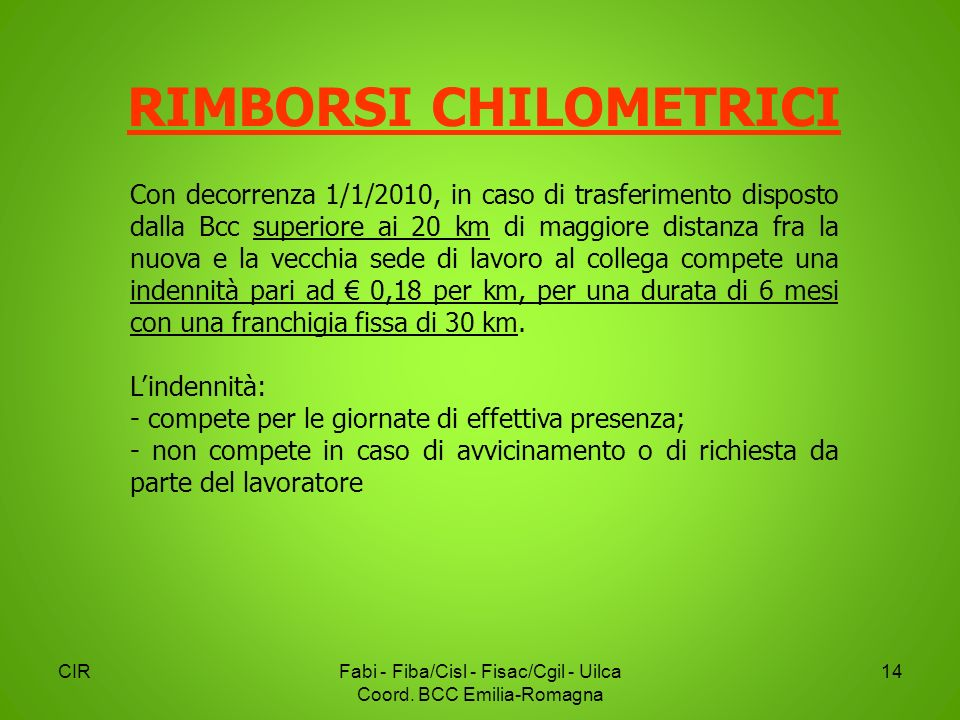 RIMBORSI CHILOMETRICI