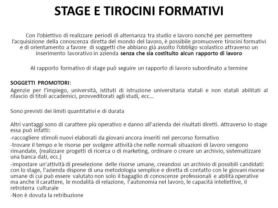 STAGE E TIROCINI FORMATIVI