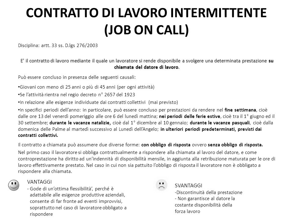 CONTRATTO DI LAVORO INTERMITTENTE (JOB ON CALL)