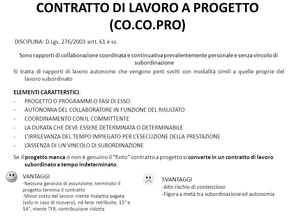 CONTRATTO DI LAVORO A PROGETTO (CO.CO.PRO)