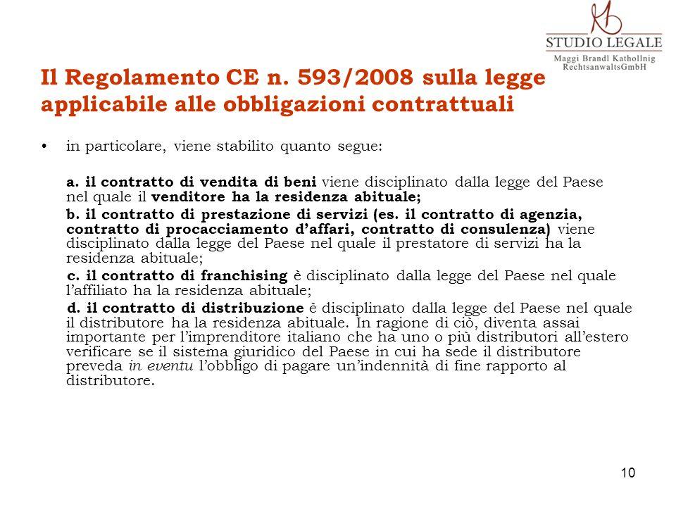 Il Regolamento CE n. 593/2008 sulla legge applicabile alle obbligazioni contrattuali
