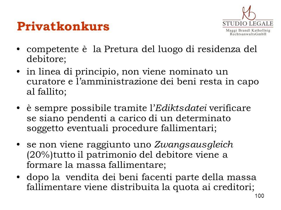 Privatkonkurs competente è la Pretura del luogo di residenza del debitore;