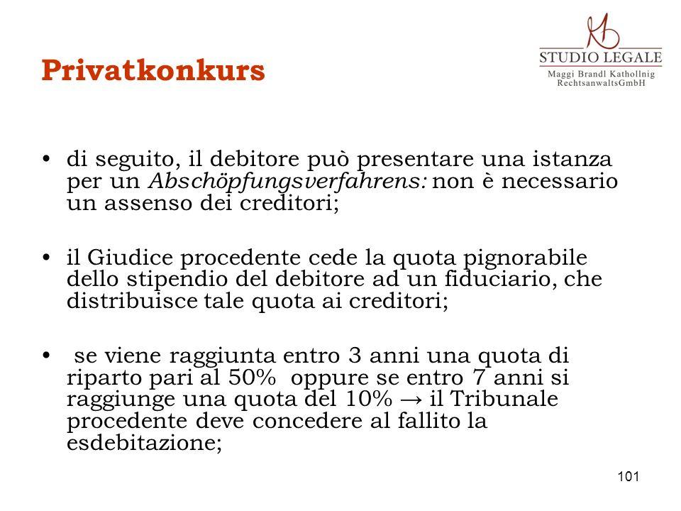 Privatkonkursdi seguito, il debitore può presentare una istanza per un Abschöpfungsverfahrens: non è necessario un assenso dei creditori;