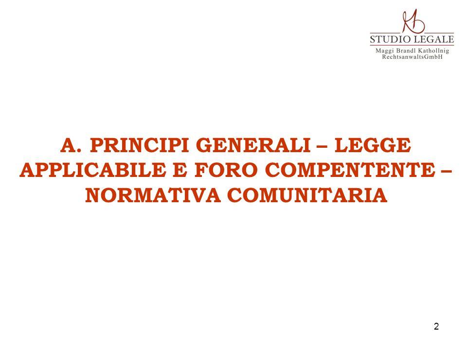 A. PRINCIPI GENERALI – LEGGE APPLICABILE E FORO COMPENTENTE –NORMATIVA COMUNITARIA