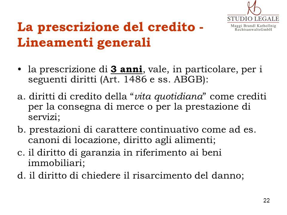 La prescrizione del credito - Lineamenti generali