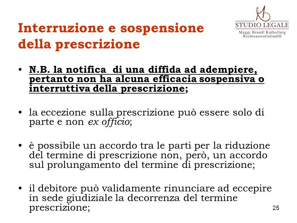 Interruzione e sospensione della prescrizione