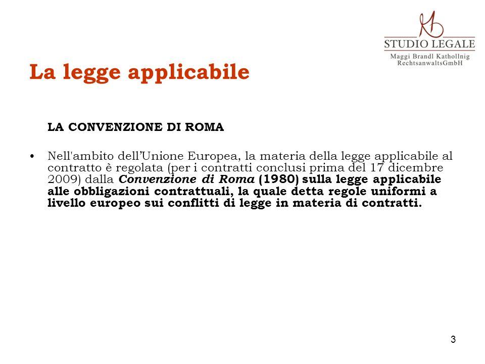 La legge applicabile LA CONVENZIONE DI ROMA.