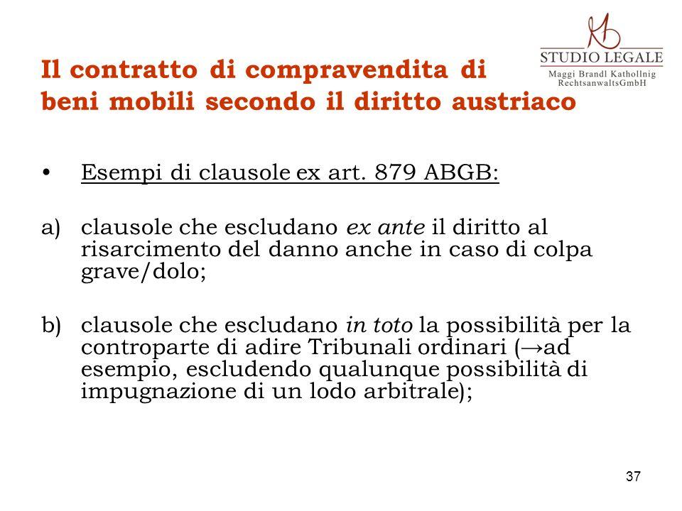 Il contratto di compravendita di beni mobili secondo il diritto austriaco