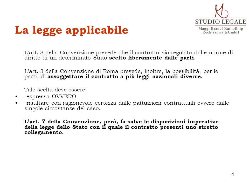 La legge applicabile