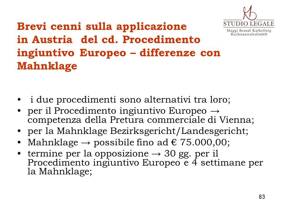 Brevi cenni sulla applicazione in Austria del cd
