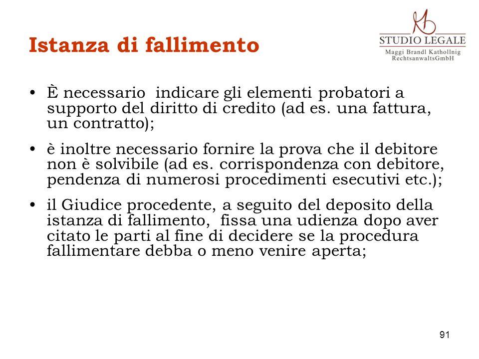 Istanza di fallimentoÈ necessario indicare gli elementi probatori a supporto del diritto di credito (ad es. una fattura, un contratto);