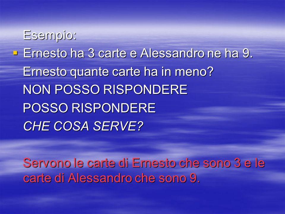 Esempio: Ernesto ha 3 carte e Alessandro ne ha 9. Ernesto quante carte ha in meno NON POSSO RISPONDERE.