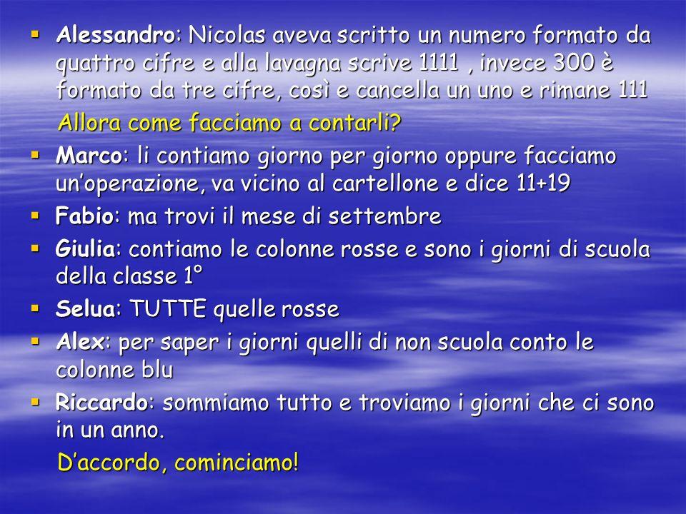 Alessandro: Nicolas aveva scritto un numero formato da quattro cifre e alla lavagna scrive 1111 , invece 300 è formato da tre cifre, così e cancella un uno e rimane 111