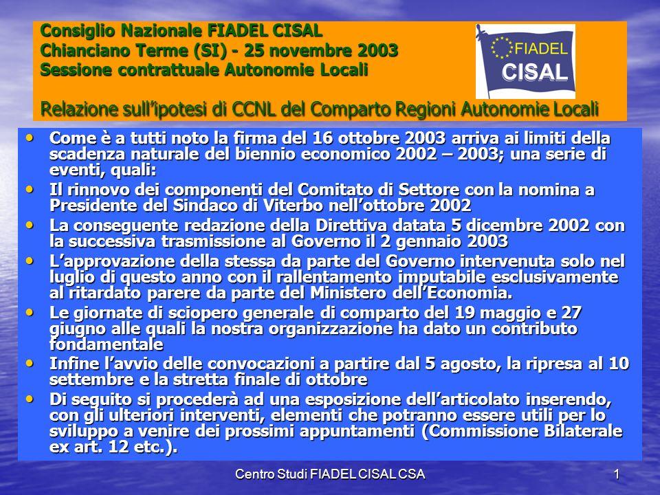 Centro Studi FIADEL CISAL CSA