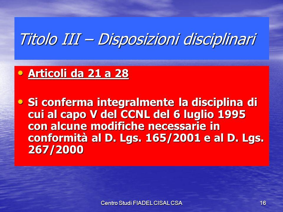 Titolo III – Disposizioni disciplinari